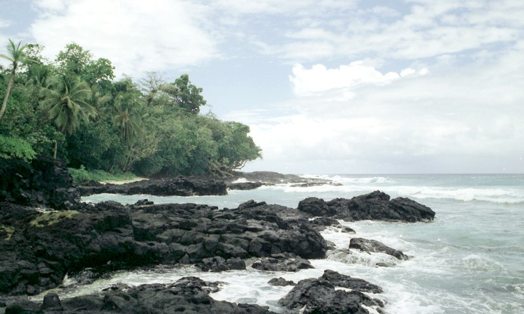 Volcanic rock pounded by the ocean waves, Upolu Island, Western Samoa